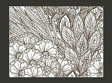 Fototapete Wiese (schwarz-weiß) 193 cm x 250 cm