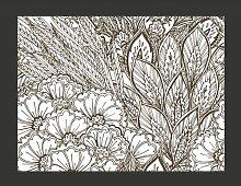 Fototapete Wiese (schwarz-weiß) 270 cm x 350 cm