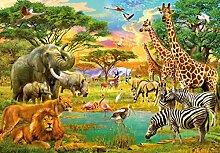 Fototapete - WILDE TIERE in AFRIKA- (154i) Größe 366x254 cm 8-teilig - Tier Kinder Landschaft Natur Wohnzimmer Kinderzimmer Küche- Motivtapete Postertapete Bildtapete Wall Mural