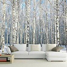 Fototapete Winter-Birkenwald Natur 3D Gedruckt