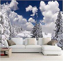 Fototapete Winterschneeszene mit weißen Wolken
