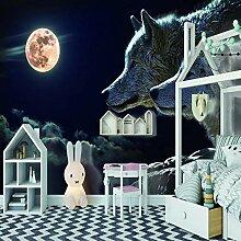 Fototapete Wolf Mond 3D Tapete Vliestapete Moderne
