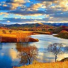 Fototapete Wolken-Fluss-Landschafts-nichtgewebte