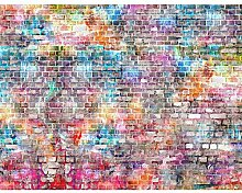 Fototapete Ziegelmauer 3D Bunt Wand Tapete