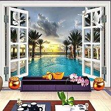 Fototapete ZZZXX Fensteransicht-Schwimmbadbaum