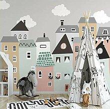 Fototapeten 3D Cartoon Haus Moderne Vlies Wand