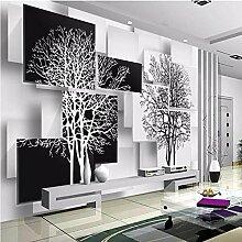 Fototapeten 3D Effekt Baum schwarz und weiß