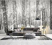 Fototapeten 3D effekt Trockener Wald im Winter