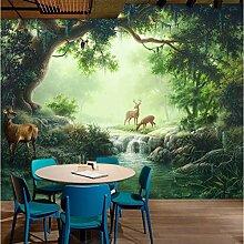 Fototapeten 3D Elch, Wald, Fluss Vlies Wandbilder