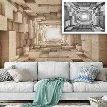 Fototapeten - 3D Fototapete Holz - Tunnel