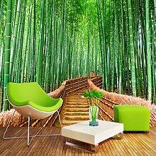 Fototapeten 3D Grüne Bambuswaldstraße Moderne