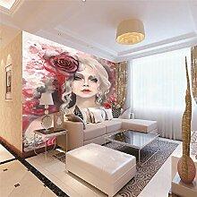 Fototapeten 3D Rose Mädchen Moderne Vlies Wand