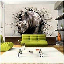 Fototapeten 3D Stereo Rhino Broken Wall Tapete