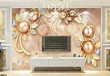 Fototapeten 3D Tapete Wandbild Luxusperlenblumen
