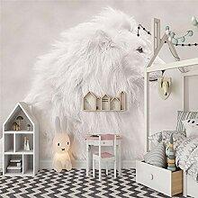 Fototapeten 3D Weißer Löwe Moderne Vlies Wand