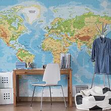 Fototapeten - Fototapete Topografische Weltkarte
