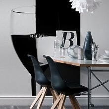 Fototapeten - Fototapete Weinglas schwarz/weiss