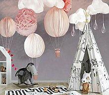 Fototapeten Heißluftballon Kind Mädchen 3D Vlies
