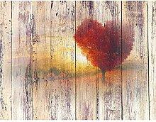 Fototapeten Herbst Holzoptik 352 x 250 cm Vlies