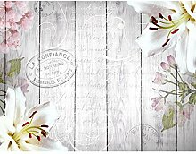 Fototapeten Holz Blumen Vintage Grau 352 x 250 cm