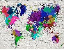 Fototapeten Weltkarte Bunt 352 x 250 cm Vlies Wand
