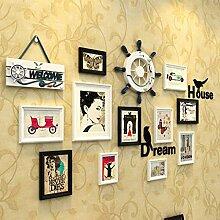 Fotowand Massivholz Bilderrahmen Wand Schlafzimmer