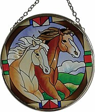 Fountasia Sonnenfänger mit Pferdemotiv, von Hand-bemaltes Glas, 9,4 cm Durchmesser