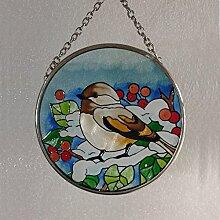 Fountasia Sonnenfänger mit Vogel und ins Freie Design, von Hand-bemaltes Glas, 9,4 cm Durchmesser