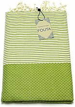 Fouta Abeille Hamam-Tuch Sauna-Tuch Pestemal Peshtemal XXL Extra Groß 197 x 100cm - 100% Baumwolle aus Tunesien als Strand-Tuch, für Bad, Picnic, Yoga, Schal (Orientalisches Türkisches Bade-Tuch) … (Hellgrün)