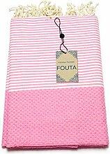 Fouta Abeille Hamam-Tuch Sauna-Tuch Pestemal Peshtemal XXL Extra Groß 197 x 100cm - 100% Baumwolle aus Tunesien als Strand-Tuch, für Bad, Picnic, Yoga, Schal (Orientalisches Türkisches Bade-Tuch) … (Rosa)
