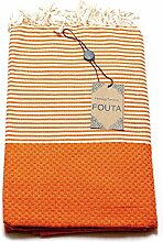 Fouta Abeille Hamam-Tuch Sauna-Tuch Pestemal Peshtemal XXL Extra Groß 197 x 100cm - 100% Baumwolle aus Tunesien als Strand-Tuch, für Bad, Picnic, Yoga, Schal (Orientalisches Türkisches Bade-Tuch) … (Orange)
