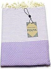 Fouta Abeille Hamam-Tuch Sauna-Tuch Pestemal XXL Extra Groß 197 x 100cm - 100% Baumwolle aus Tunesien als Strand-Tuch, für Bad, Picnic, Yoga, Schal (Orientalisches Türkisches Bade-Tuch) (Lila)