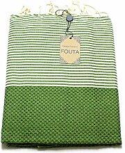 Fouta Abeille Hamam-Tuch Sauna-Tuch Pestemal XXL Extra Groß 197 x 100cm - 100% Baumwolle aus Tunesien als Strand-Tuch, für Bad, Picnic, Yoga, Schal (Orientalisches Türkisches Bade-Tuch) (Grün)