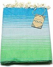 Fouta Hamam-Tuch Sauna-Tuch Pestemal Peshtemal - 100% Baumwolle aus Tunesien für Bad, Picnic, Yoga oder Strand (wie ein Türkisches Bade-Tuch) (Grün schattiert)