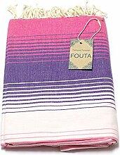 Fouta Hamam-Tuch Sauna-Tuch Pestemal Peshtemal XXL Extra Groß 197 x 100cm - 100% Baumwolle aus Tunesien als Strand-Tuch, für Bad, Picnic, Yoga, Schal (Orientalisches Türkisches Bade-Tuch)