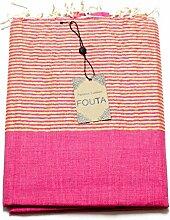 Fouta Lurex Hamam-Tuch Sauna-Tuch Pestemal Peshtemal XXL Extra Groß 197 x 100cm - 100% Baumwolle aus Tunesien als Strand-Tuch, für Bad, Picnic, Yoga, Schal (Orientalisches Türkisches Bade-Tuch) … (Pink)