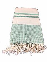 Fouta Premium Linda Hellgrün-Grün| Hamam-Tuch | Sauna-Tuch | Strandtuch | 2 x 1 m | 100% Baumwolle aus Tunesien