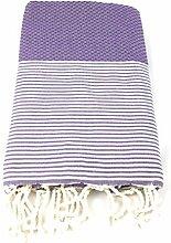 Fouta Waben gestreift | Hamam-Tuch | Sauna-Tuch | Strandtuch | 2 x 1 m | 100% Baumwolle aus Tunesien (Lila)