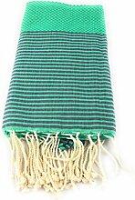 Fouta Waben gestreift | Hamam-Tuch | Sauna-Tuch | Strandtuch | 2 x 1 m | 100% Baumwolle aus Tunesien (Grün-Dunkelblau)