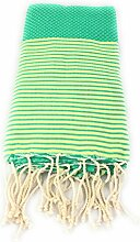 Fouta Waben gestreift | Hamam-Tuch | Sauna-Tuch | Strandtuch | 2 x 1 m | 100% Baumwolle aus Tunesien (Grün)
