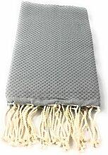 Fouta Waben Uni Grau | Hamam-Tuch | Sauna-Tuch | Strandtuch | 2 x 1 m | 100% Baumwolle aus Tunesien