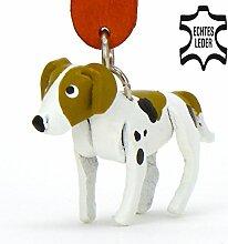 Fox-hound Filou - kleine Hunde Schlüssel-Anhänger aus Leder, eine tolle Geschenk-Idee für Frauen und Männer in Hunde-Zubehör, Fox-Hund, The secret life of pets Max, patch, uhr, sticker, tasse, aufnäher, aufkleber, cap, decal, metal gear, shirt xxl, tshir