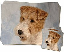 Fox Terrier Hund Twin 2x Platzsets + 2x