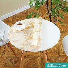 Foxi Pvc tischset,Durchsichtige Kunststoff Weiches glas Tischdecken Wasserdicht Einweg Kristall tischtuch Ultra-thin Teetisch Schutzfolie-G Durchmesser 90 cm (35 Zoll)