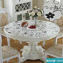 Foxi Pvc tischset,Durchsichtige Kunststoff Weiches glas Tischdecken Wasserdicht Einweg Kristall tischtuch Ultra-thin Teetisch Schutzfolie-F Durchmesser130cm(51inch)