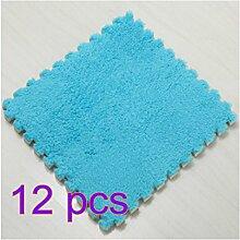Foxom 12Pcs EVA Puzzlematte Spielmatte Spielteppich Schaumstoff Puzzle Kinderteppich, Blau