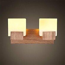 FPF Wandleuchten Europäische Art-doppelte Hauptseiten-Zucker-feste hölzerne Wand-Lampe Kreative Gang-Nachttisch-Schlafzimmer-Wohnzimmer-Wand-Lampe Möbel Wandleuchte