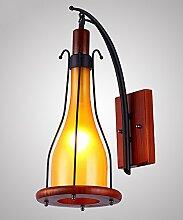 FPF Wandleuchten Glas-Wandleuchte Europäische Retro-Massivholz-Wand-Lampen-Gang-Stab-antike Wand-Lampe Möbel Wandleuchte ( Farbe : Weiß )