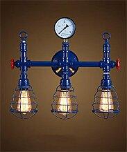 FPF Wandleuchten Retro amerikanisches der industriellen Wasserrohre Bügeleisen Balkon Restaurant Bar Wandleuchte Möbel Wandleuchte ( Farbe : 3 -Blue )
