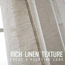 Fragrantex Leinen-Vorhang für Wohnzimmer, 213,4
